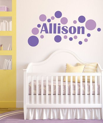 Lavender Modern Dot Personalized Wall Decal Set