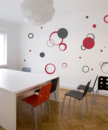 Red & Gray Circle Daze Wall Decal Set