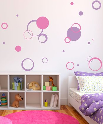 Pink & Lilac Circle Daze Wall Decal Set