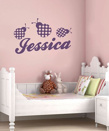 Violet Ladybug Personalized Wall Decal Set