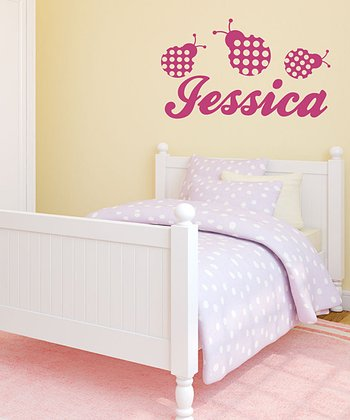 Pink Ladybug Personalized Wall Decal Set