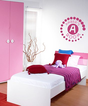 Pink Circle Badge Personalized Wall Decal Set