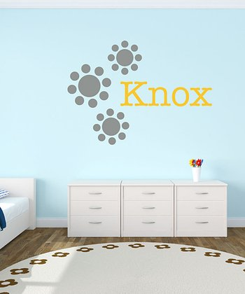 Gray & Yellow Polka Dot Flower Personalized Wall Decal Set