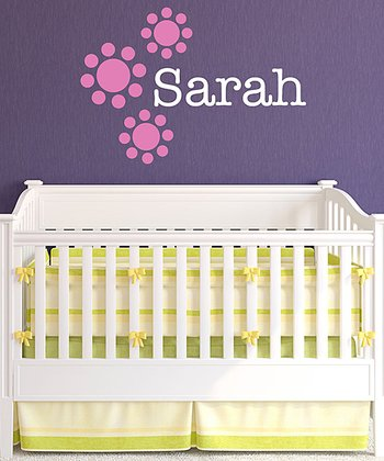 Pink Polka Dot Flower Personalized Wall Decal Set