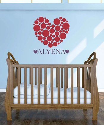 Red & Violet Polka Dot Heart Personalized Wall Decal Set