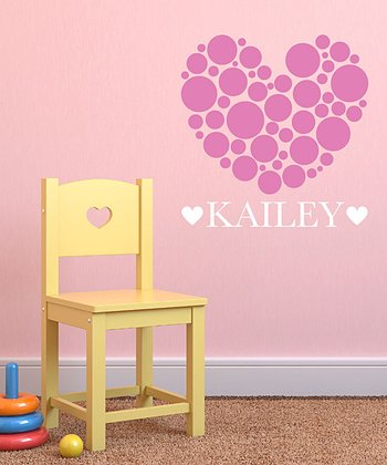 Bubblegum Polka Dot Heart Personalized Wall Decal Set