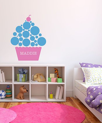 Ice Blue Polka Dot Cupcake Personalized Wall Decal Set