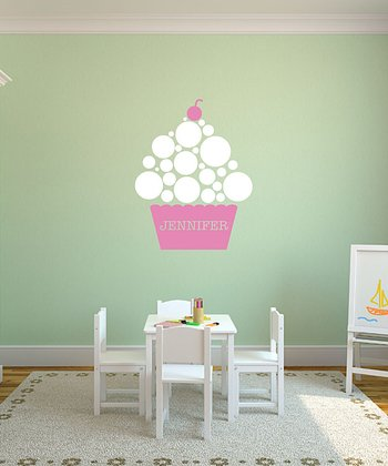 Pink Polka Dot Cupcake Personalized Wall Decal Set