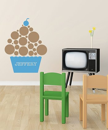 Blue & Brown Polka Dot Cupcake Personalized Wall Decal Set