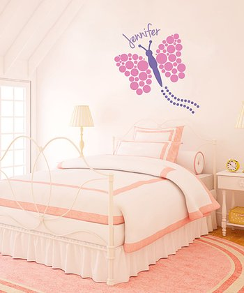 Pink Polka Dot Butterfly Personalized Wall Decal Set