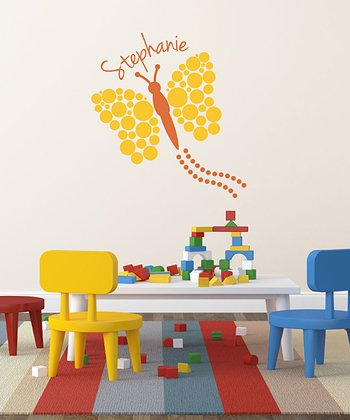 Yellow Polka Dot Butterfly Personalized Wall Decal Set