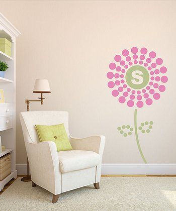 Soft Pink Polka Dot Flower Initial Wall Decal Set