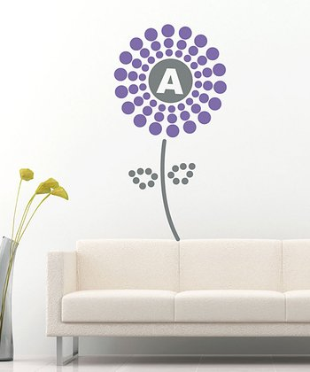 Lavender Polka Dot Flower Initial Wall Decal Set