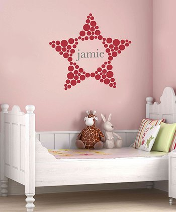 Red Polka Dot Star Personalized Wall Decal Set