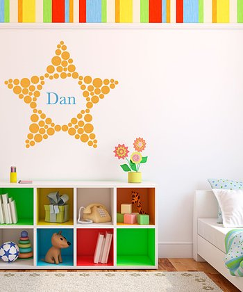 Yellow Polka Dot Star Personalized Wall Decal Set