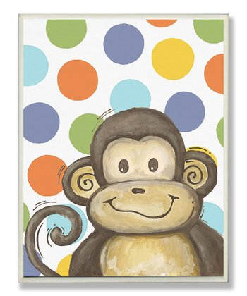 Polka Dot Lil' Buddy Monkey Wall Art