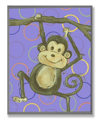 Purple Circle Lil' Buddy Monkey Wall Art