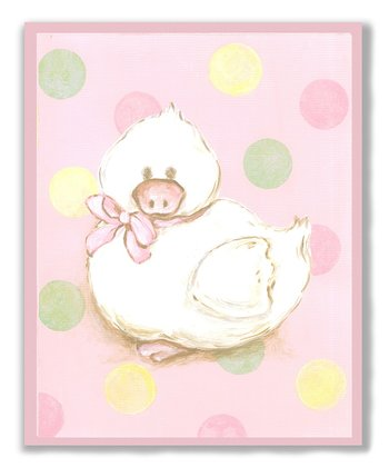 Pink Polka Dot Duck Wall Art