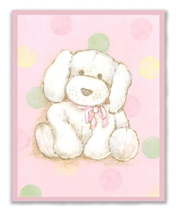 Pink Polka Dot Puppy Wall Art