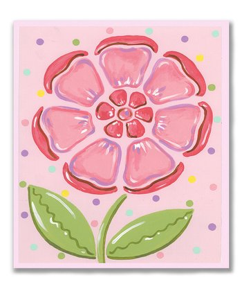 Pink Flower Polka Dot Wall Art