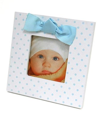 White & Blue Polka Dot Bow Frame