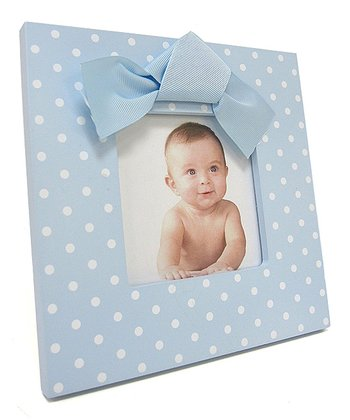 Blue & White Polka Dot Bow Frame