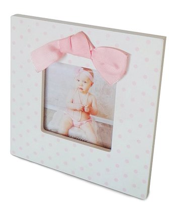 White & Pink Polka Dot Bow Frame