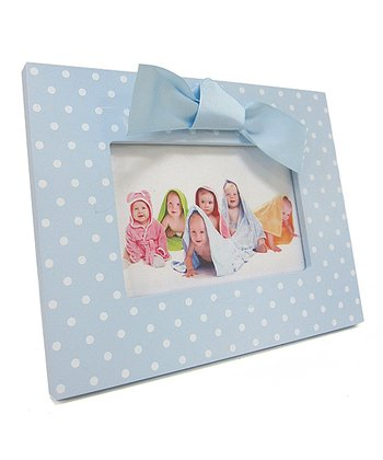 "Blue & White 4"" x 6"" Polka Dot Bow Frame"