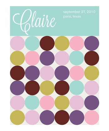 Mod Dot Birth Announcement Personalized Print