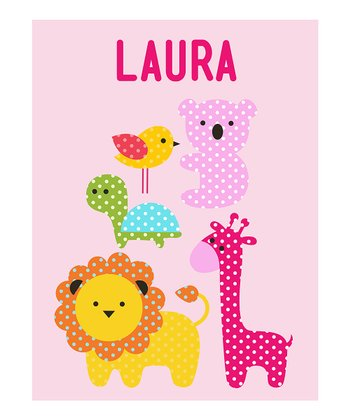 Pink Jungle Animals Personalized Print