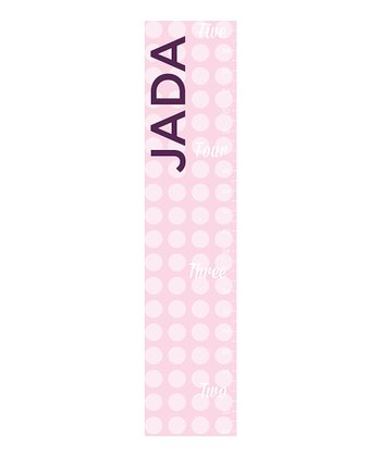 Pink & White Polka Dot Personalized Growth Chart