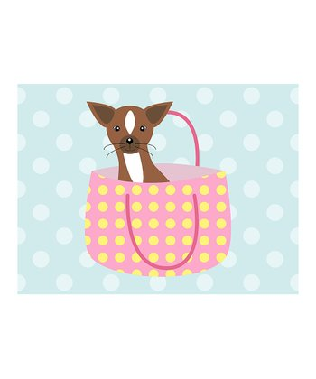 Blue Puppy & Purse Print