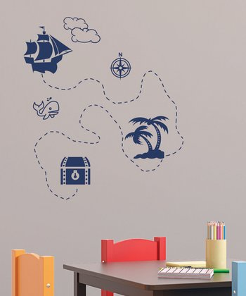 Navy Treasure Map Wall Decal