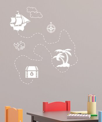 White Treasure Map Wall Decal