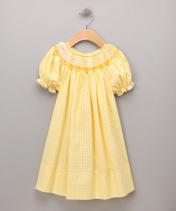 Yellow Seersucker Bishop Dress - Infant