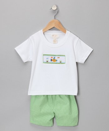 Green Submarine Tee & Gingham Shorts - Infant