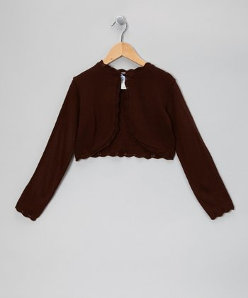 Brown Crocheted Bolero - Girls