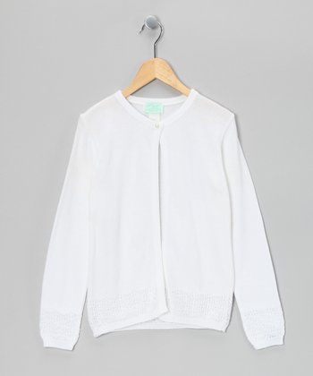 Julius Berger White Ace Sleeve Cardigan - Girls