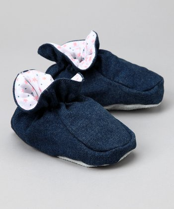 Denim Pink Daisy Slipper