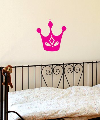 Pink Bejeweled Crown Wall Decal
