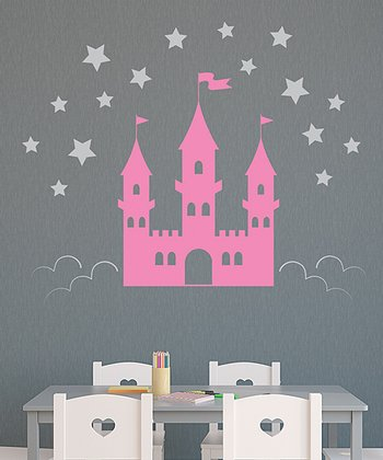 Soft Pink & Silver Castle in The Clouds Wall Decal