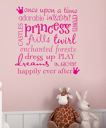 Pink 'Princess' Subway Art Wall Decal