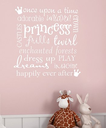 White 'Princess' Subway Art Wall Decal
