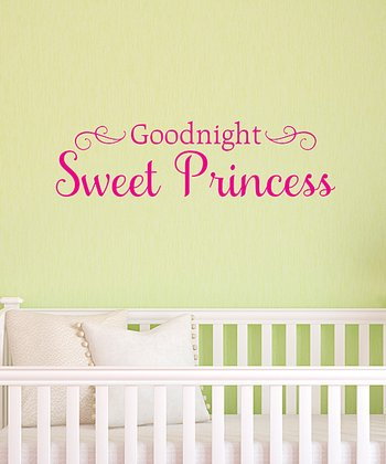 Pink 'Goodnight Sweet Princess' Wall Decal