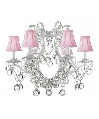White & Pink Gallery Wrought Iron Chandelier