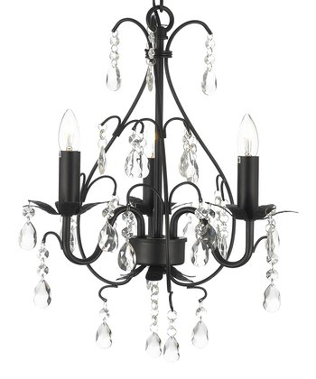 Black Crystal & Wrought Iron Chandelier