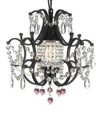 Black & Pink Dangling Crystal Chandelier