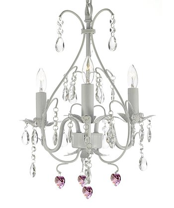 White Crystal & Wrought Iron Chandelier
