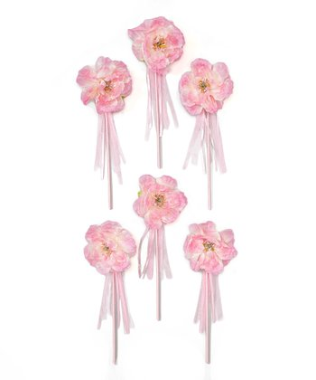 Hot Pink Peony Flower Girl Wand - Set of Six