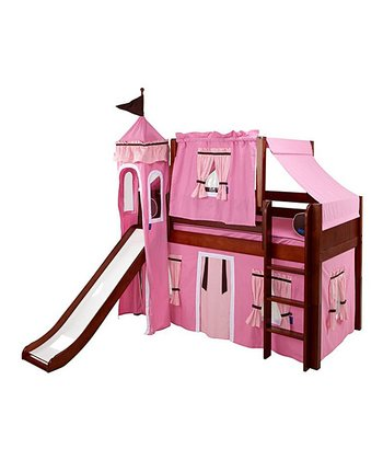 Chestnut & Hot Pink Low Loft Castle Bed